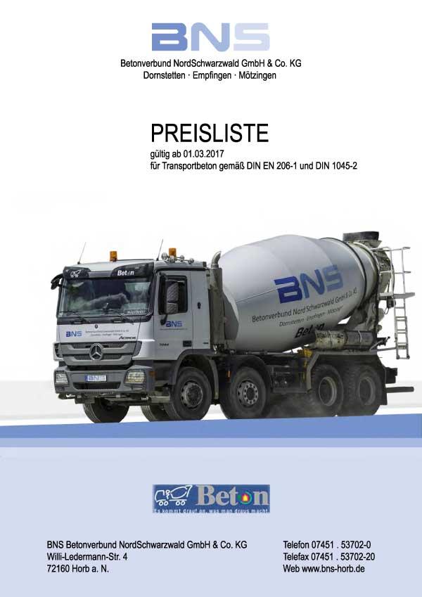 Download aktuelle BNS Preisliste