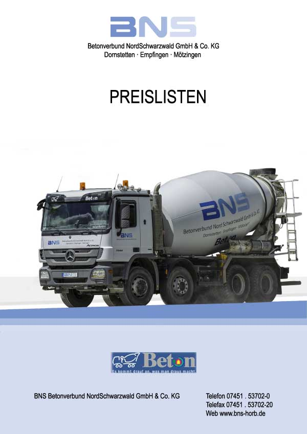 Download aktuelle BNS Preisliste